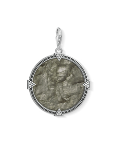 Charm Pendant Vintage Coin Play Of Colour 925 Sterling Silver, Blackened