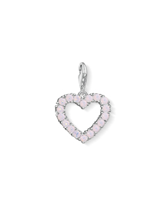 Charm Pendant Heart With Hot Pink Stones 925 Sterling Silver