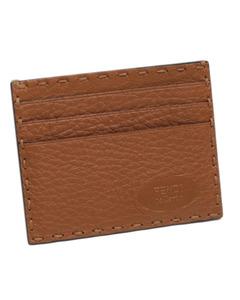 Fendi Selleria Leather Card Holder Brown