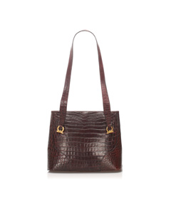 Ferragamo Embossed Leather Tote Bag Brown