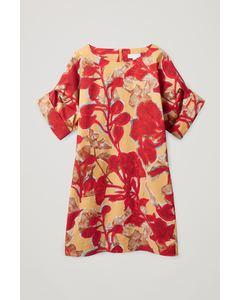 Bedrucktes Kleid Mit Gekrempelten Ärmeln Mehrfarbig