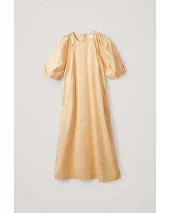 DRESS WITH PUFF SLEEVES orange