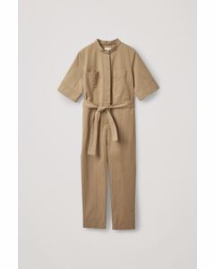 Shortsleeved Jumpsuit Beige