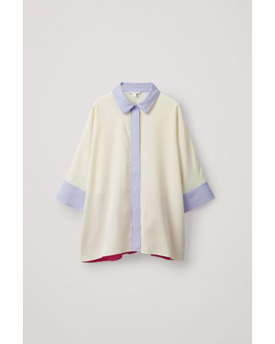 COS WIDE COLOUR-BLOCK SHIRT off-white / pink