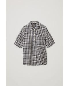 Checked Cotton Seersucker Shirt Navy / White