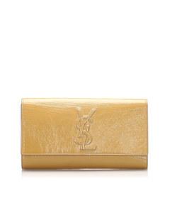 Ysl Belle De Jour Patent Leather Clutch Bag Brown