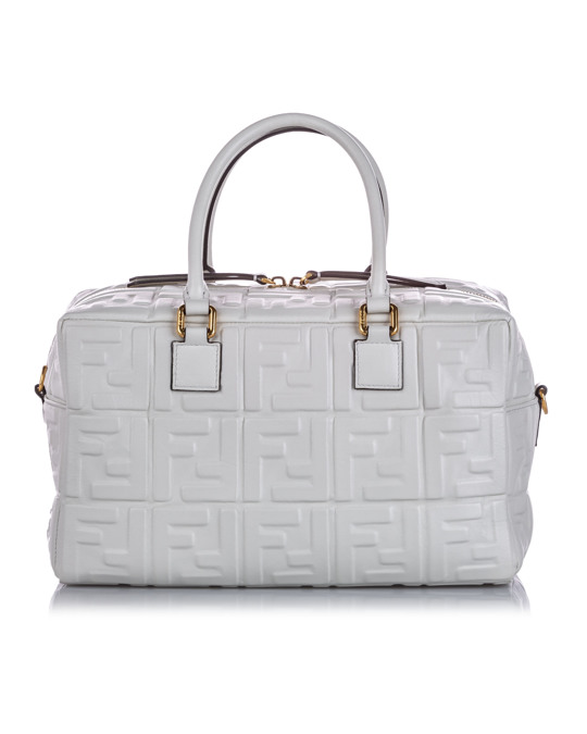 Fendi Fendi Zucca Embossed Leather Satchel White