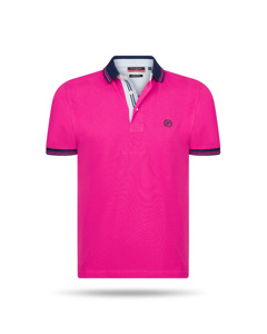Pierre Cardin Navy Tipped Polo Rosa