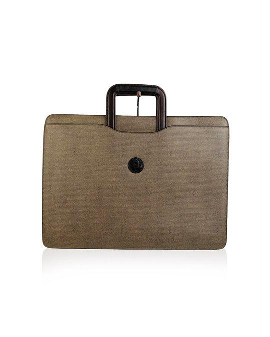 Fendi Fendi Vintage Gray Canvas Retractable Handles Briefcase Work Bag
