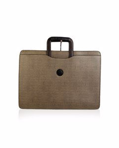 Fendi Vintage Gray Canvas Retractable Handles Briefcase Work Bag