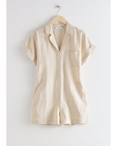Boxy Lyocell Linen Blend Playsuit Light Beige