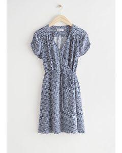 Short Sleeve Mini Wrap Dress Blue Print