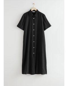 Buttoned Maxi Shirt Dress Black