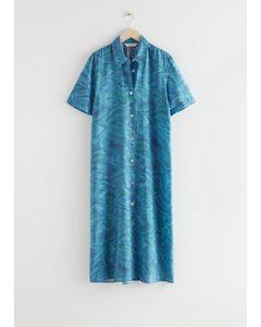Maxi-Hemdkleid mit Knöpfen Blau/Print