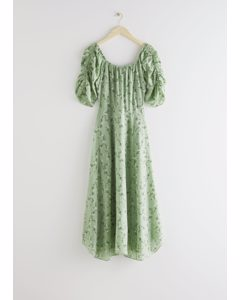 Rouched Sleeve Midi Dress Green Florals