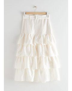 Belted Ruffle Midi Skirt White