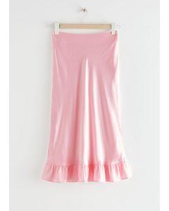 Ruffled Crepe Midi Skirt Pink