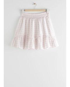 Smocked Frill Mini Skirt Purple Checks