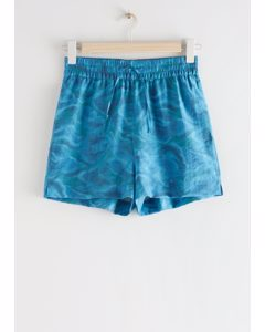 Relaxed Drawstring Shorts Blue Waves