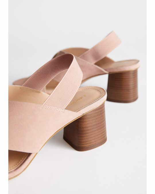 & Other Stories Criss Cross Heeled Leather Sandals Dusty Pink