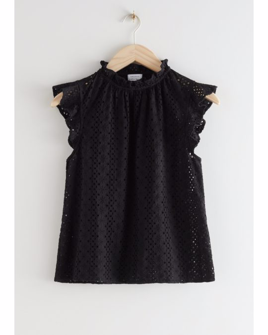 & Other Stories Frilled Broderie Anglaise Blouse Black