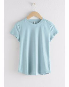 Cotton Blend T-shirt Light Blue