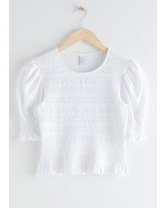 Smocked Puff Sleeve Crop Top White