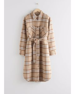 Belted Oversized Coat Beige Checks