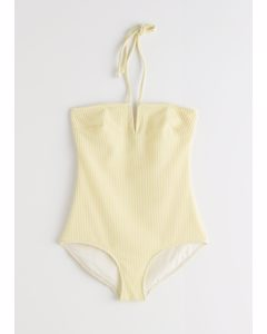 Jacquard Check Halter Neck Swimsuit Yellow Checks