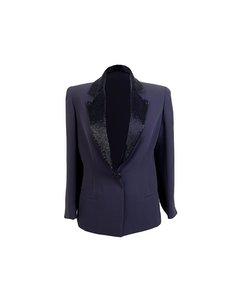 Mila Schon Vintage Bue Silk Beaded Blazer Jacket Size 40