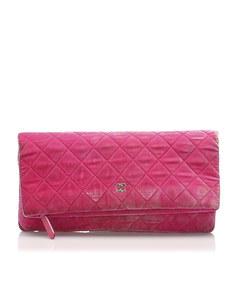 Chanel Matelasse Velour Clutch Bag Pink