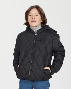 K. Quilted Hood Jacket Black