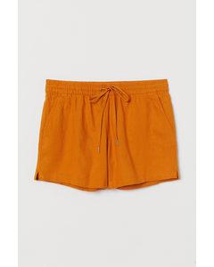 Shorts aus Leinenmischung Dunkelgelb