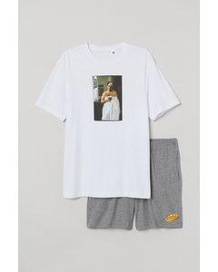 Schlafshirt und Shorts Weiß/Seinfeld
