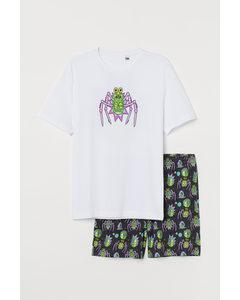 Pyjamas Med T-shirt Och Shorts Vit/rick And Morty