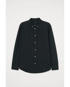 Oxfordskjorta Regular Fit Mörk Grönmelerad