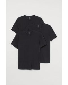 3-pack T-shirt Slim Fit Svart