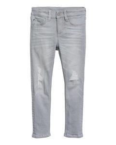 Skinny Fit Jeans Grå Denim