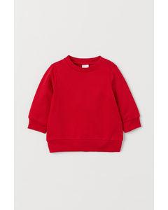 Sweatshirt I Bomull Röd