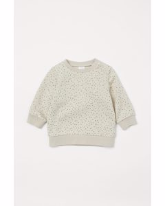 Sweatshirt I Bomull Ljusbeige/småprickig