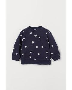 Sweatshirt I Bomull Mörkblå/stjärnor