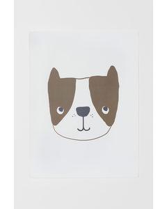 Poster Weiß/Hund