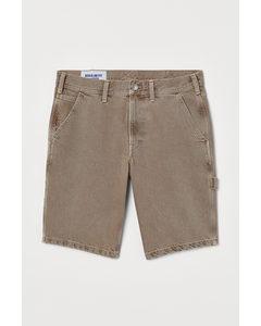 Jeansshorts Regular Beige