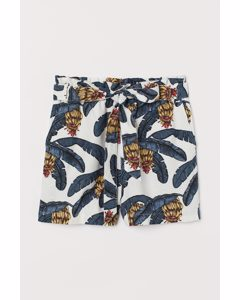 Paperbag-Shorts aus Leinenmix Naturweiß/Bananenblätter