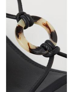 Sandaletten Met Strikbandjes Zwart