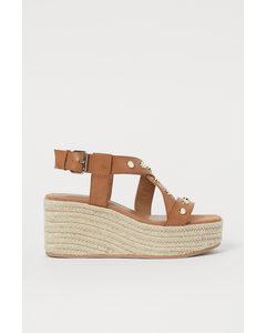 Sandaletten Met Sleehak Lichtbruin