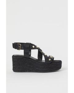 Sandaletten Met Sleehak Zwart