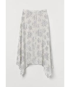 Jacquard-patterned Skirt White/silver-coloured Pattern
