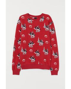 Gemustertes Sweatshirt Rot/Nikoläuse