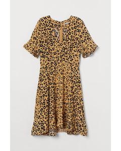 Gemustertes Kleid Dunkelbeige/Leopardenmuster